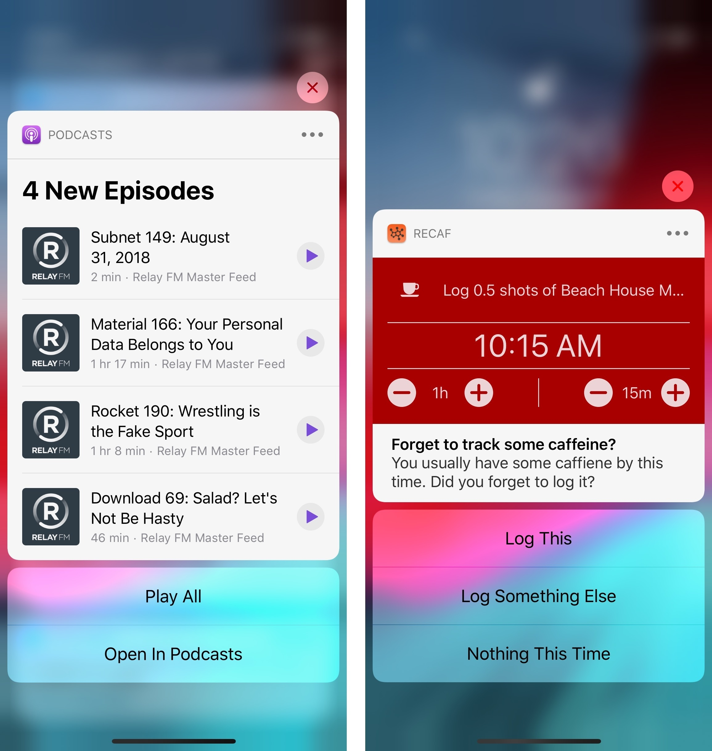 Rich notifications with interactive elements. (Pictured: Podcasts and the RECaf app.)