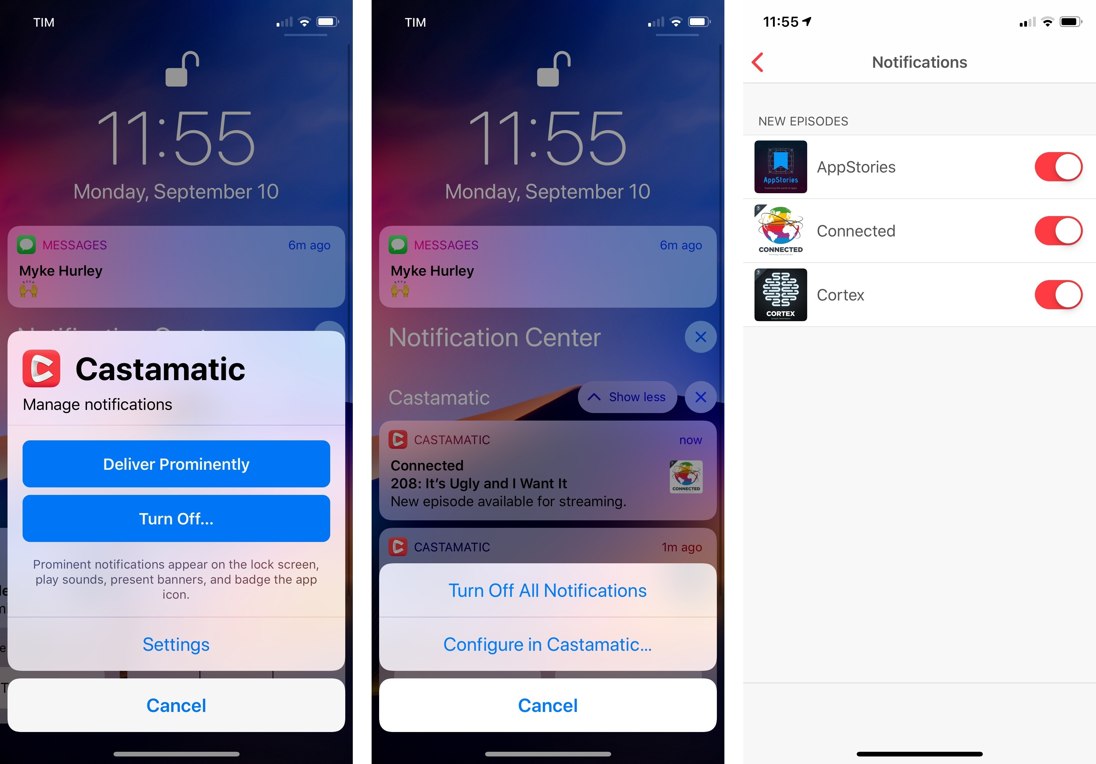 Deliver Quietly becomes Deliver Prominently for notifications that already go straight to Notification Center. In the example above, Castamatic deep-links its notification settings to a screen inside the app.
