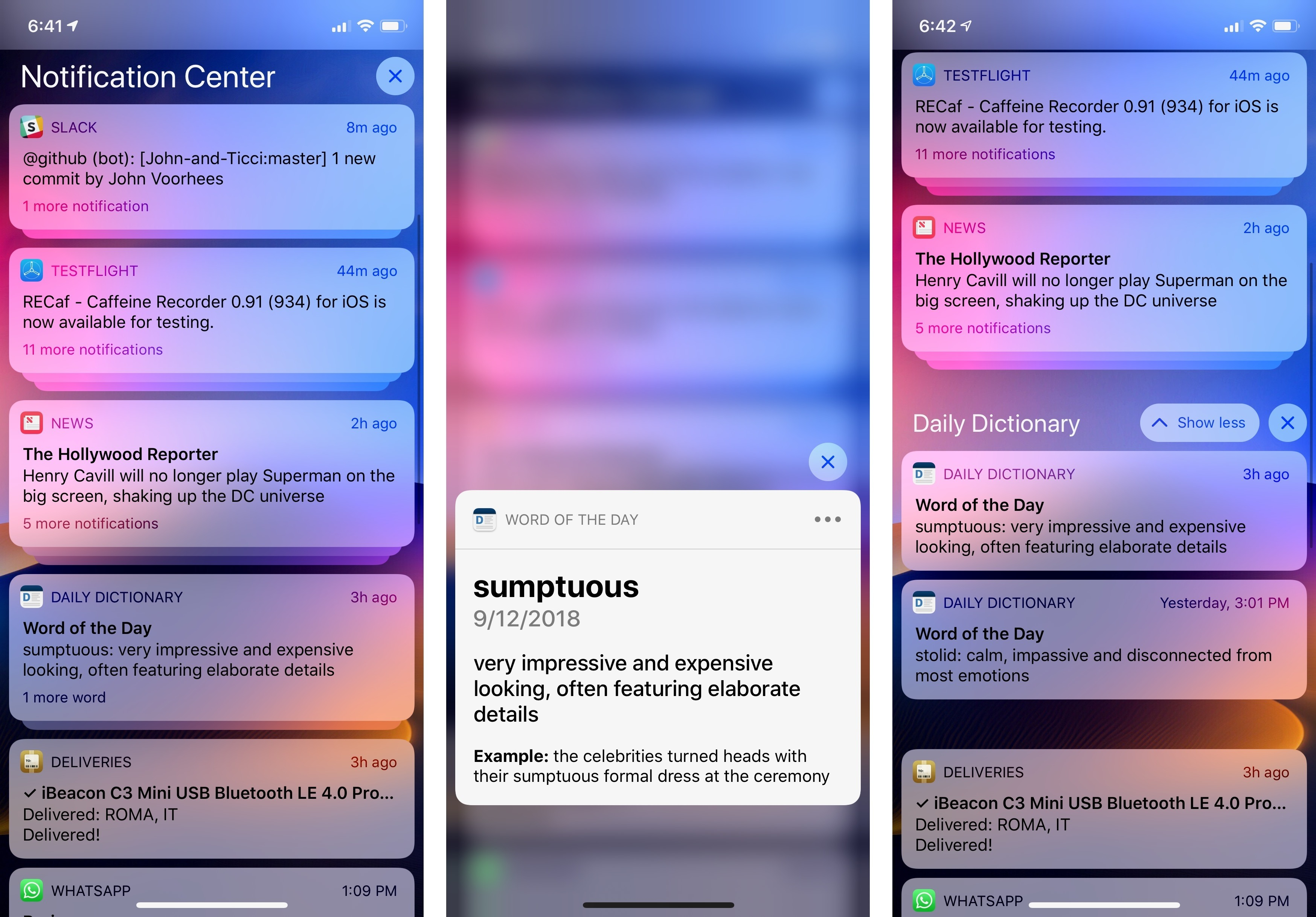 The main interactions with a stack of grouped notifications: pressing to expand the leading notification (center) and tapping to expand the group (right).