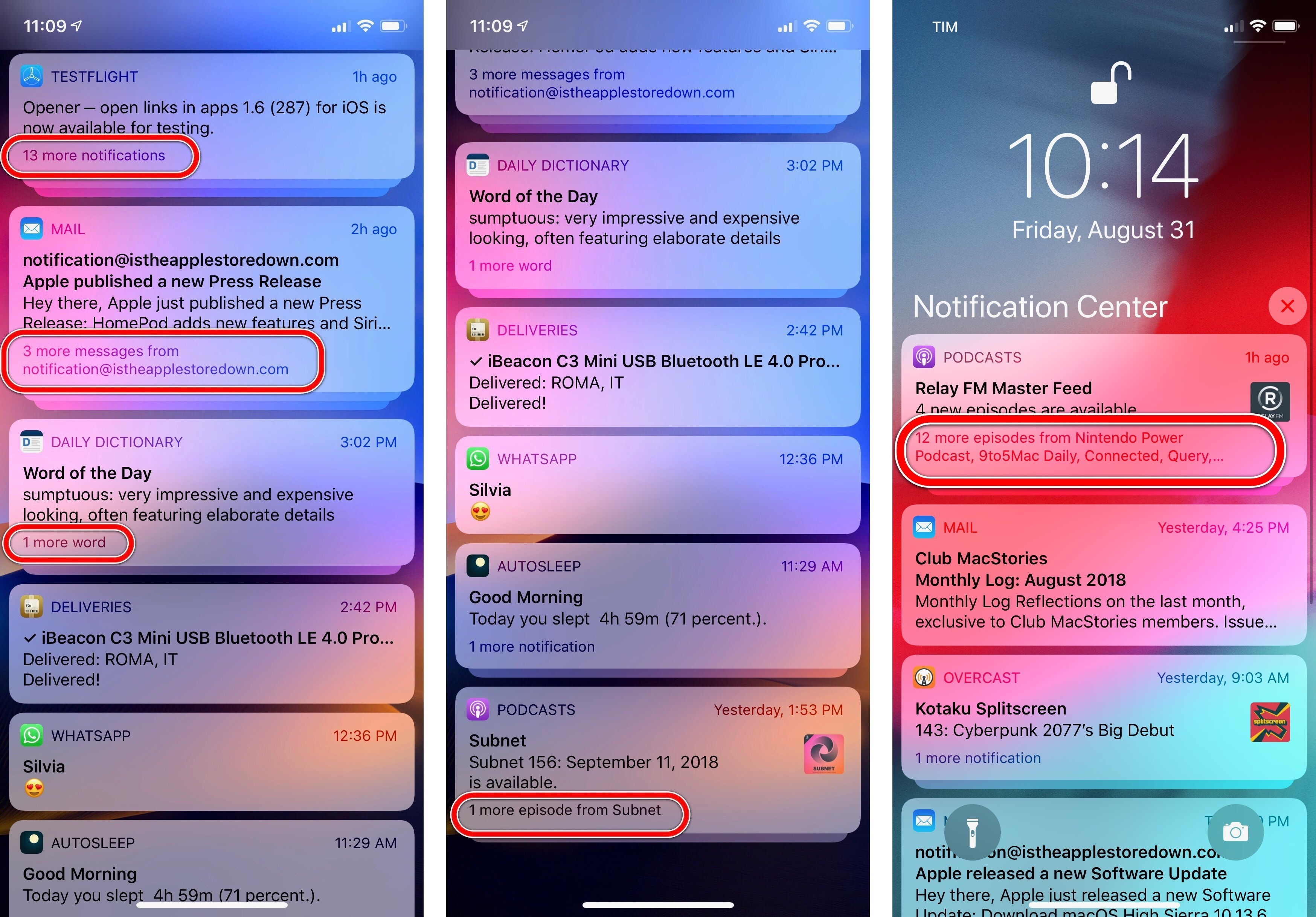 Different kinds of summary messages for notifications.