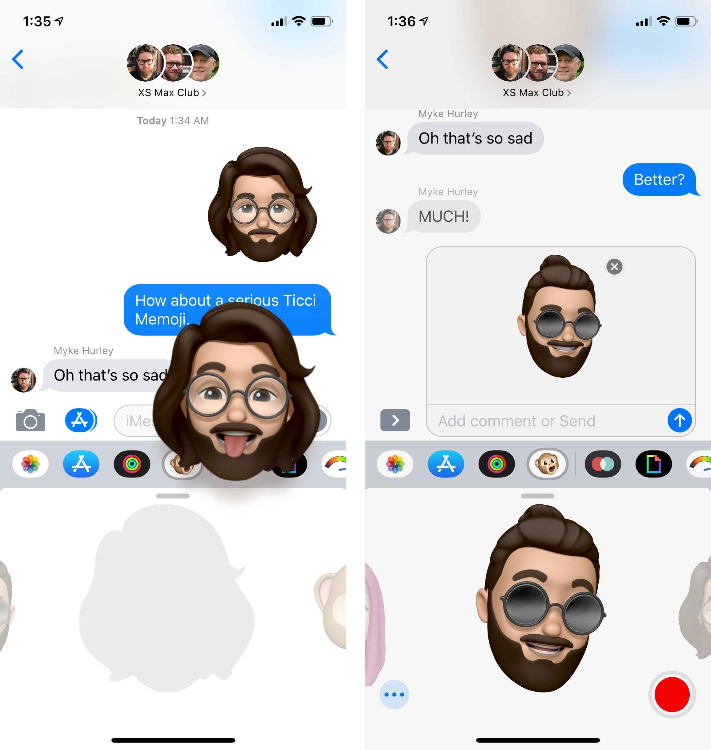 You can share Memoji like regular iMessage stickers.