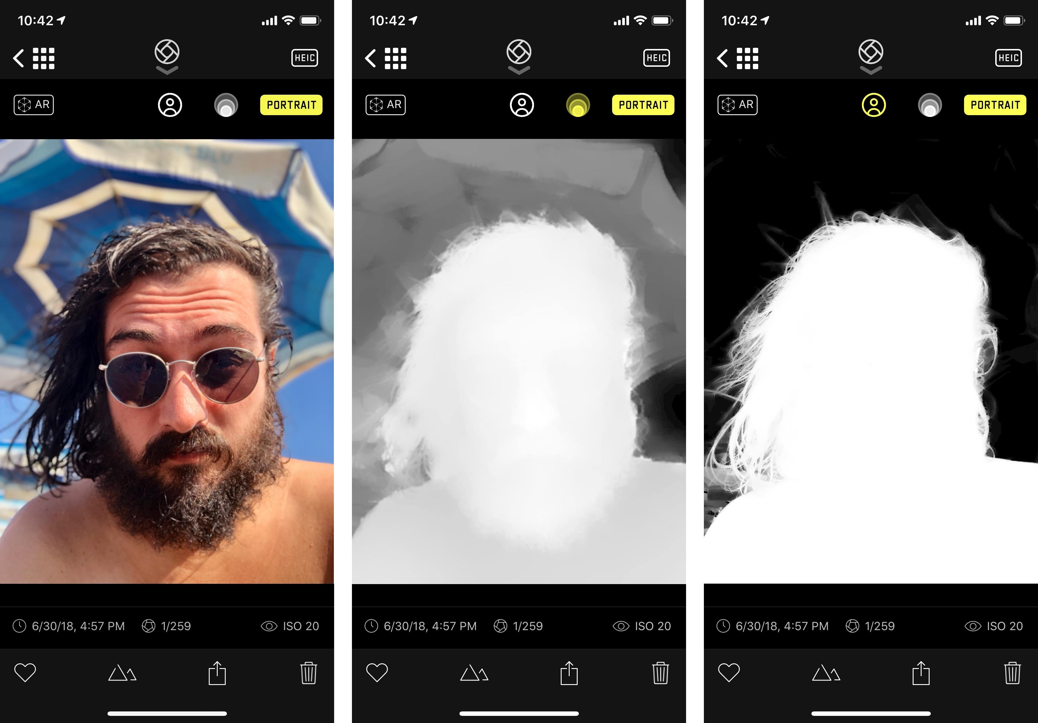 The old depth API for a Portrait shot (center) compared to the new Portrait Segmentation API in iOS 12. Notice the better separation from the background and finer details for hair. You can compare these APIs in an upcoming version of the Halide app.