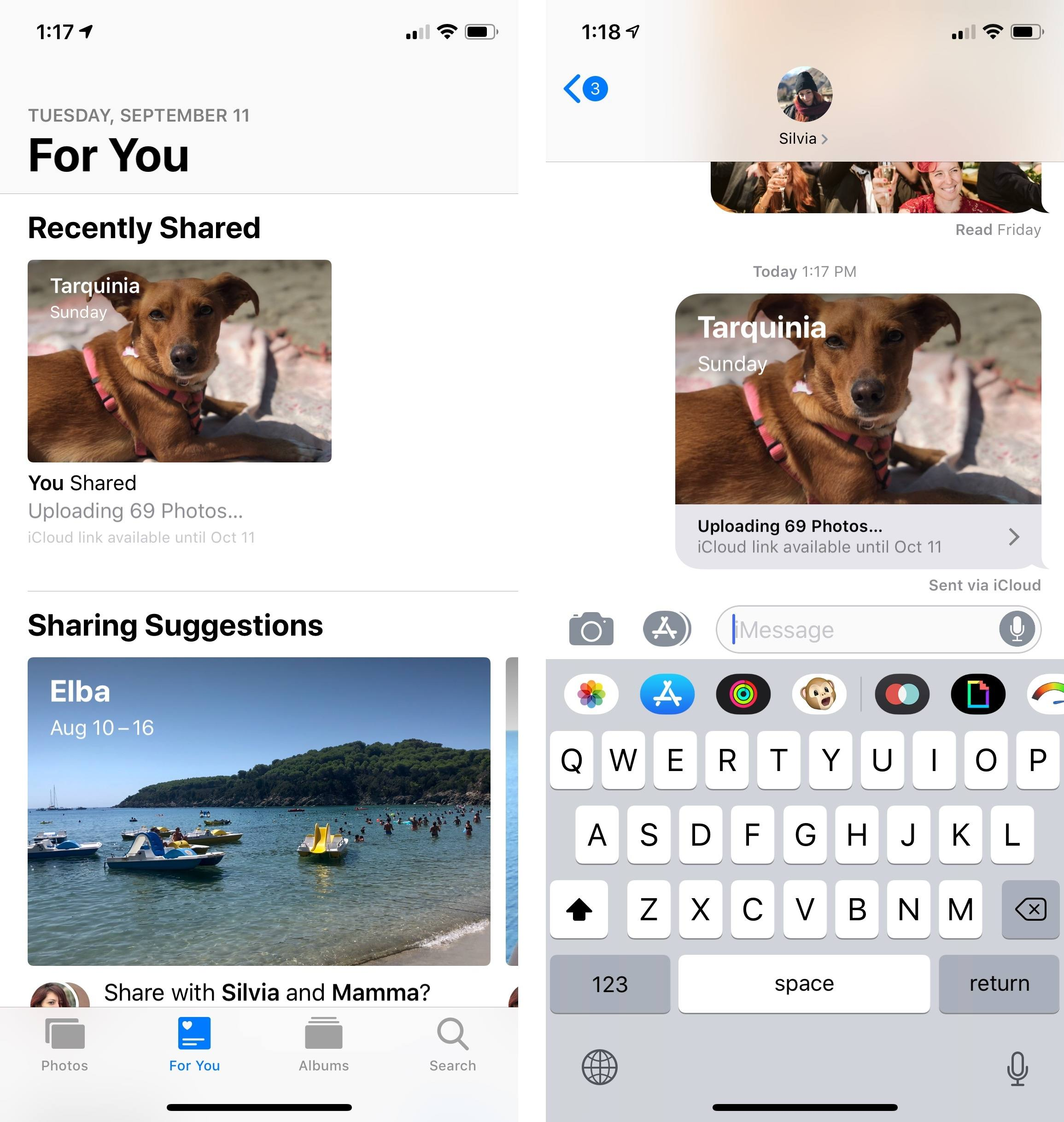 iMessage is the easiest way to share a collection of photos.