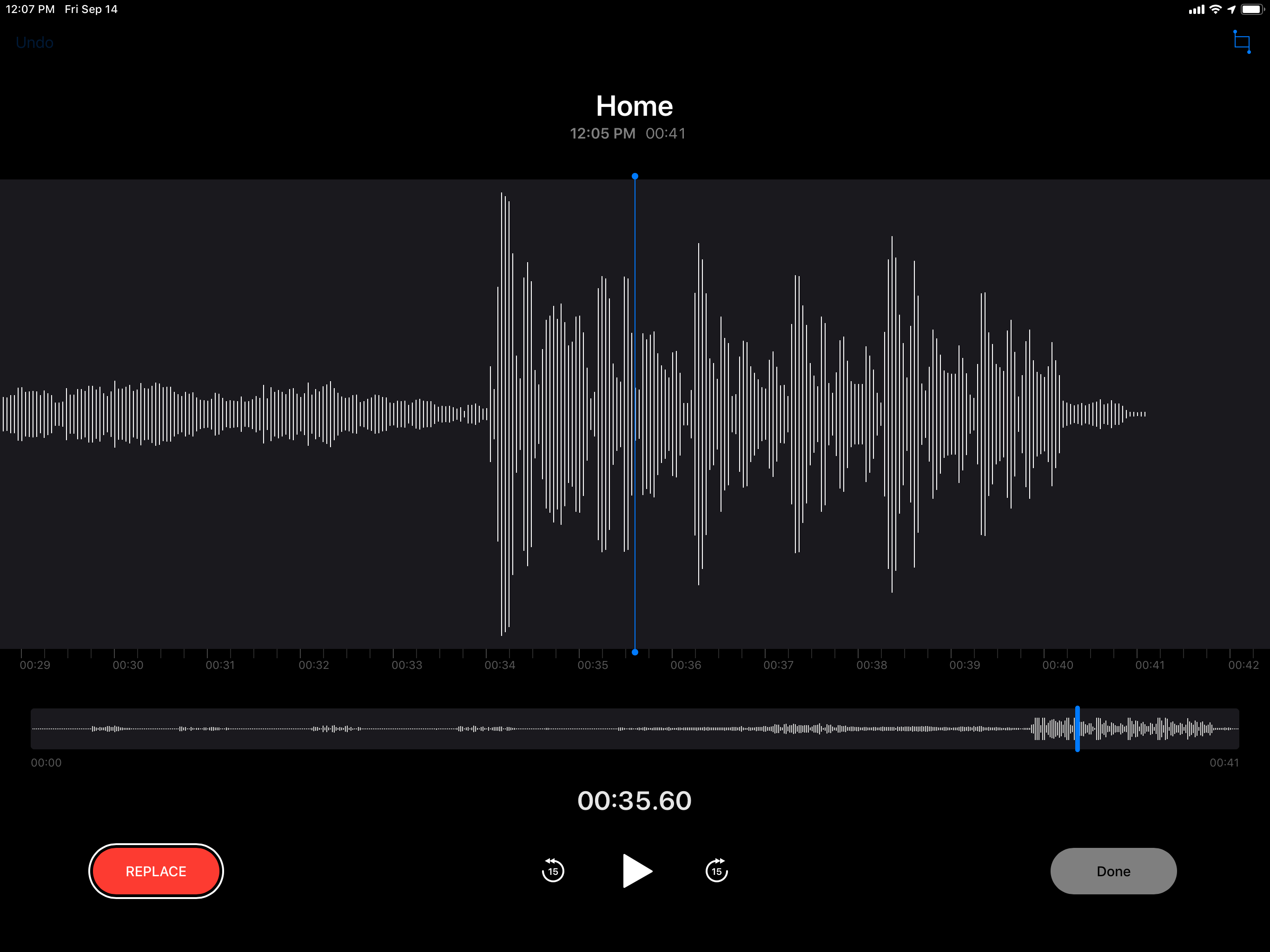 The editing interface for Voice Memos on iPad.
