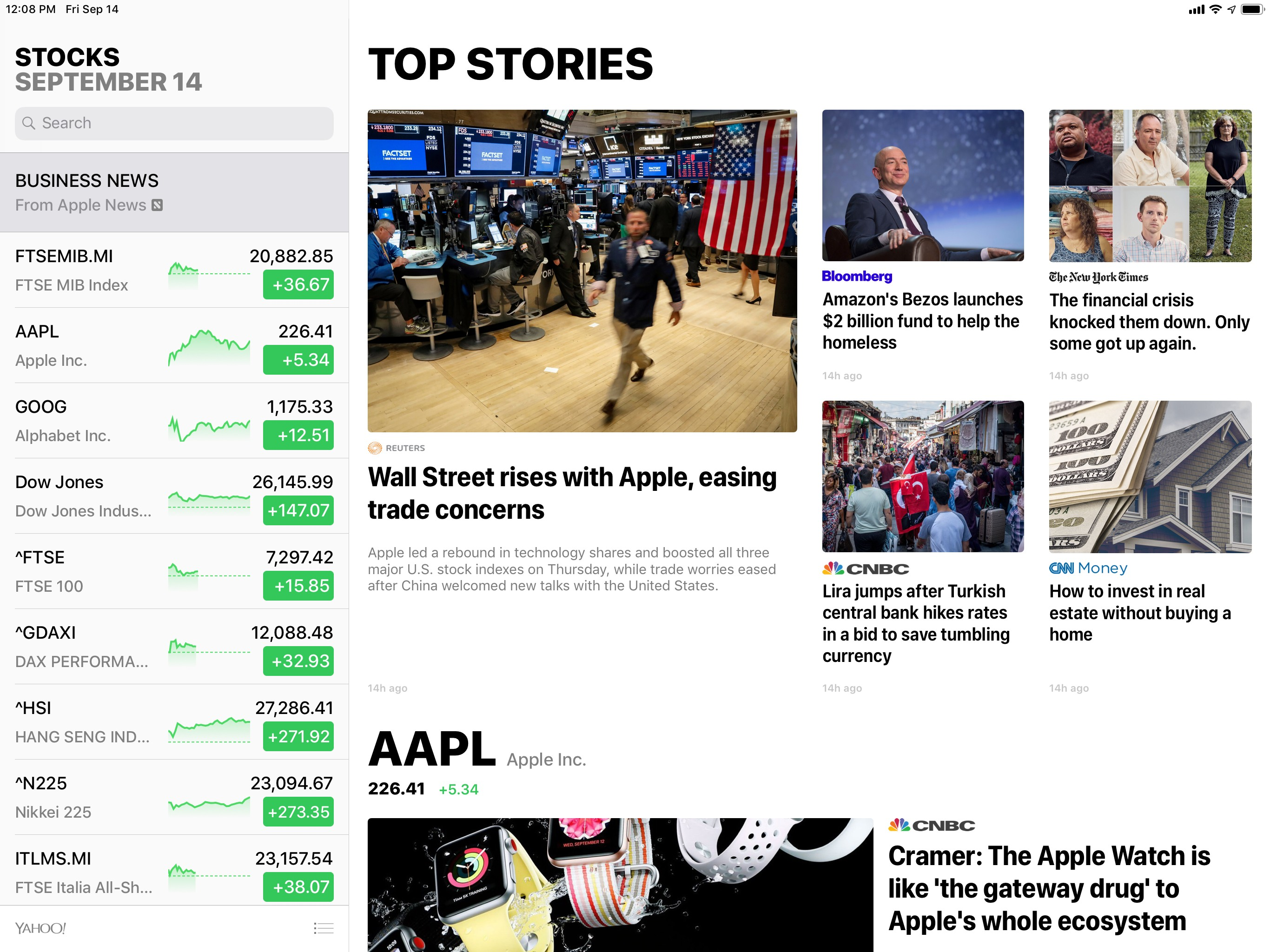 Apple News inside Stocks.