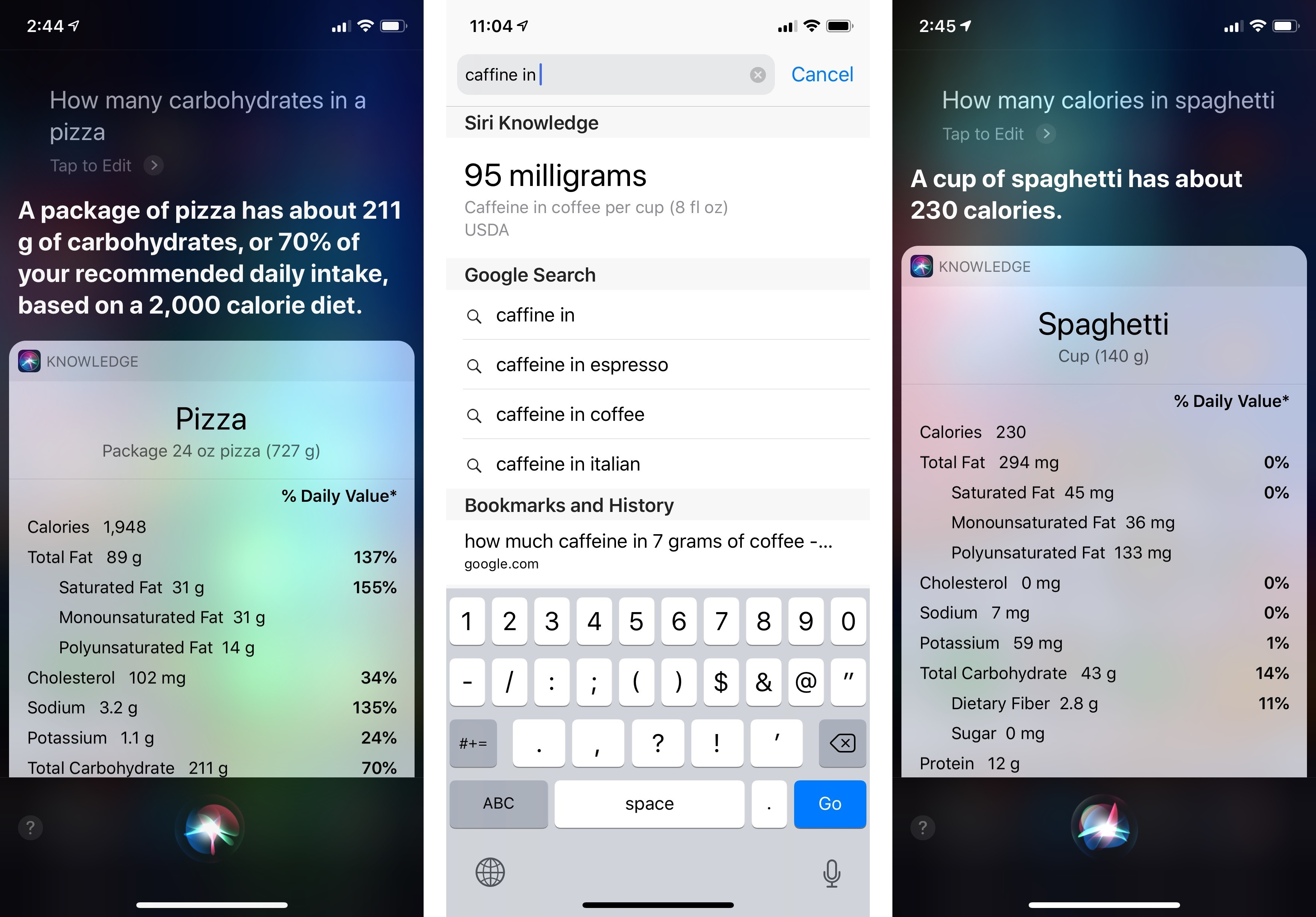Siri's food knowledge is available in the traditional voice experience as well as Safari.