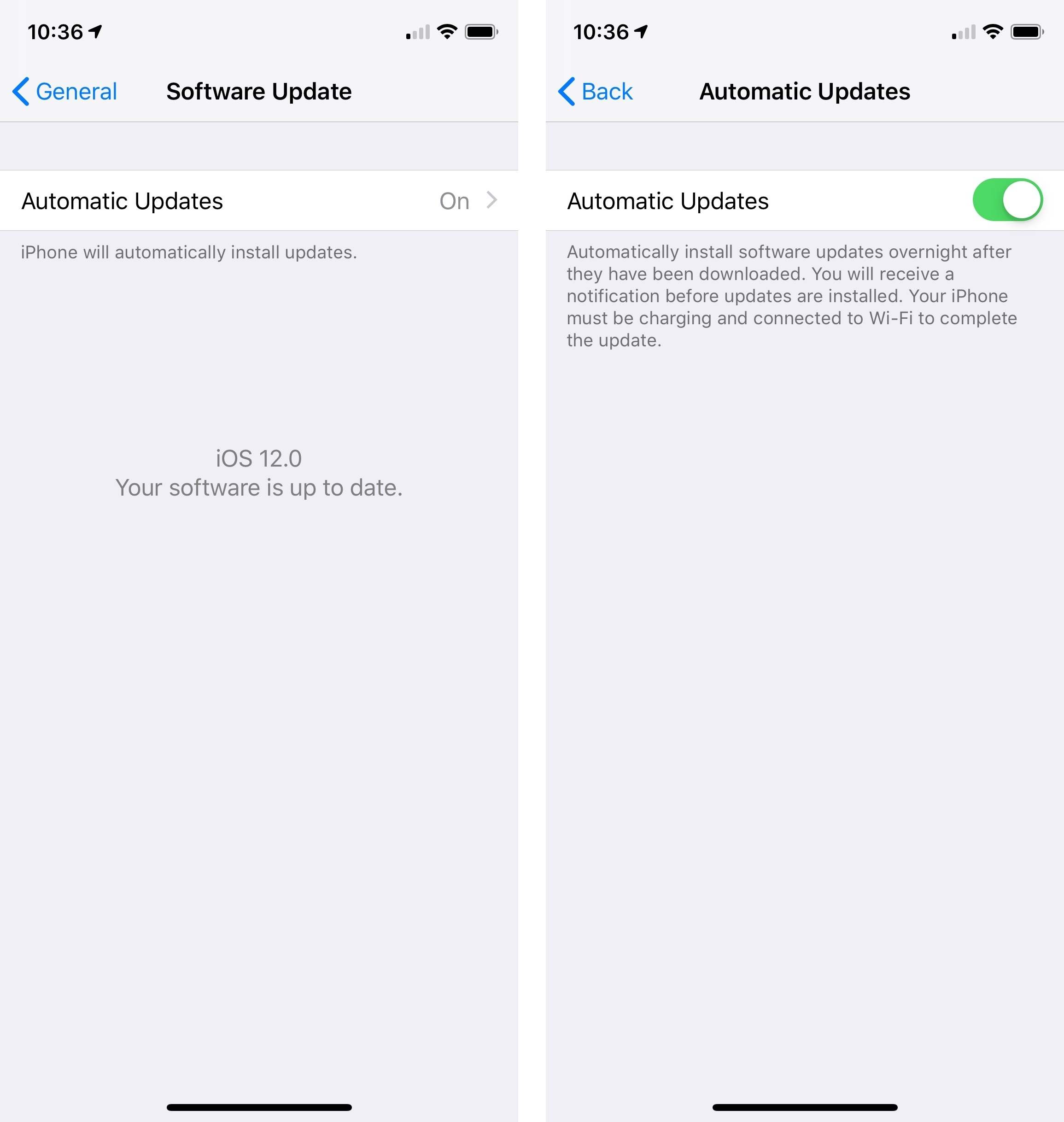 Automatic software update settings in iOS 12.